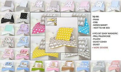 Pram/Crib/Moses Basket Baby Set  4 Pc Inc Duvet+Pillow+ Pillow Case+Duvet Cover