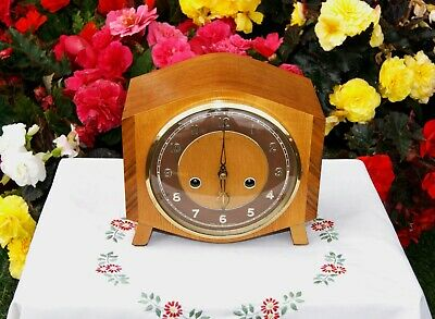 Smiths Enfield Antique Art Deco Striking Mantel Clock, 1957. Outstanding!