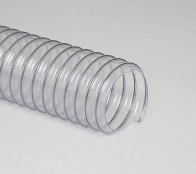"Clear PVC Textile Collection Hose - Flexadux PV R-2 8"" x 25'"
