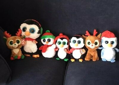 Ty Beanie Boo Plush Christmas Lot Retired Collection