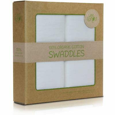 WeeSprout Organic Cotton Muslin 47-by-47-Inch Swaddle Blankets Pack of 2