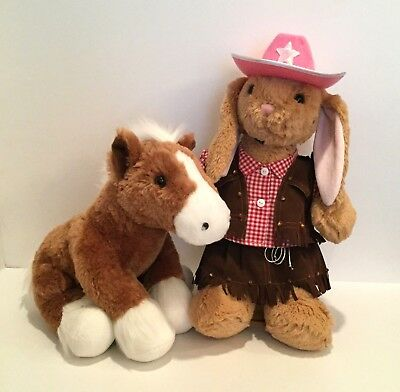 Build A Bear Brown Horse Pony & Beige Cowgirl Bunny Rabbit Plush w/ bracelet