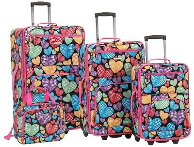 ROCKLAND Luggage Soft Side Set Expandable with Skate Wheels, Newheart (4-Piece)
