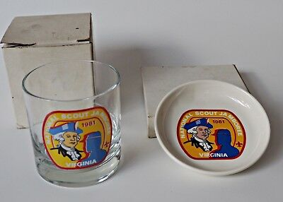 Vintage 1981 BOY SCOUTS Virginia National Scout Jamboree DRINKING GLASS, COASTER