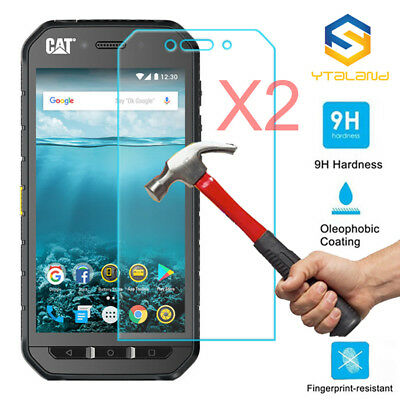 2Pcs 9H Clear Premium Tempered Glass Screen Protector Cover Film For Cat S41