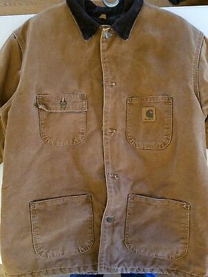 carhartt duck canvas blanket quilt lined work coat jacket size large