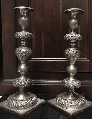 Antique Solid Silver Pair Of  Candlesticks From Russia - 1 Kg Weight Total