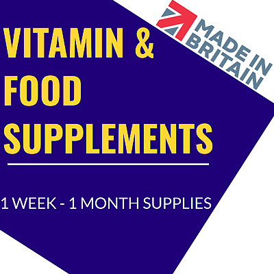 Vitamins & Food Supplements 1 Month Supply UK Made GMP Certified Vegetarian