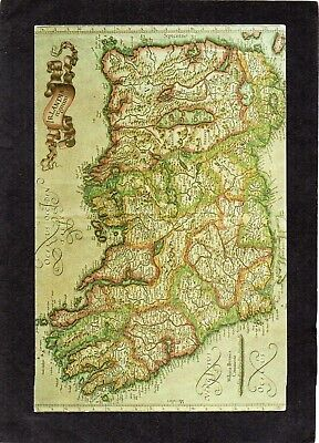 Ancient Map Of Ireland.Ancient Map Of Ireland Published By J Hondius 1606 Postcard Produced 1989