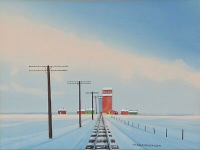 Robert Newton Hurley 1894-1980 Painting Grain Elevator in Winter Canadian Listed