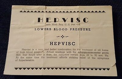 Vintage Antique Medical advertisement paper brochure Hepvisc drug for High BP
