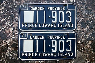 1971 Prince Edward Island Canada License Plate Pair, Never Used, #11-903.
