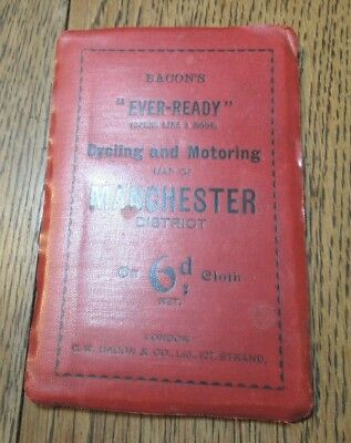 Antique  Bacon's Ever-Ready  Cycling And Motoring Map Of Manchester District