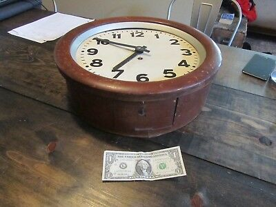 RARE Antique Round Wall Clock Old Bentwood w/ Metal Face MAKERS MARK - Look! 16""