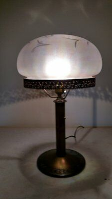 Antique Bradley and Hubbard Iridescent Wheel cut Mushroom Shade/ Deco/Handel