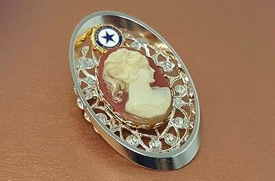 Vintage Lady Face cameo Oval  Gold tone Brooch