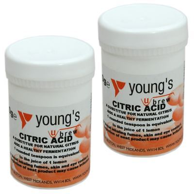 2x Citric Acid 100g Youngs - Home brew Beer & Wine Making Chemicals