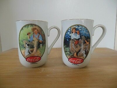 Coca-Cola Collection Mug x 2 Norman Rockwell Boy Fishing Dog Gold Trim White