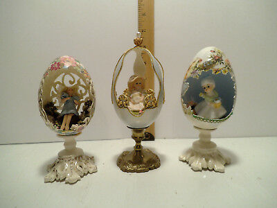Lot 3 Vintage Decorated Diorama Real Egg on Stands Signed RM