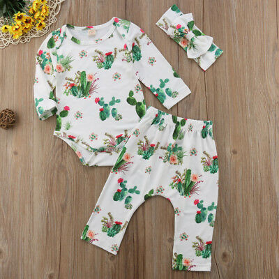 AU 3Pcs Newborn Baby Girl Boy Romper T-Shirt +Long Pants Outfits Clothes Set