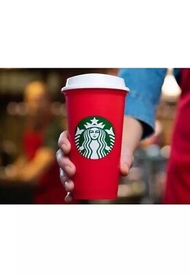 NEW Starbucks Coffee Reusable Red Cup & Lid Christmas Holiday 2018 LIMITED Rare