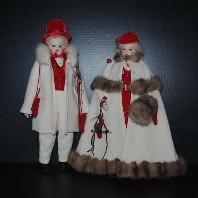 """Barrois French Fashion Doll Pair 17"""" Antique Reproduction By Barbara Carroll"""