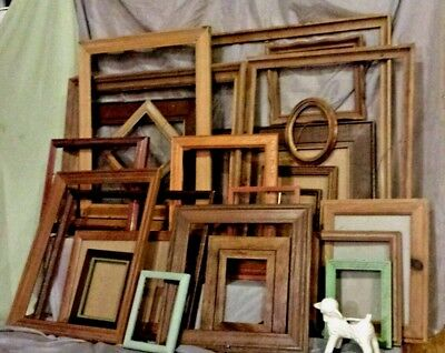 Barn wood lg lot Vtg ASSORTED SIZE OPEN PICTURE PAINTING wedding FRAMES antique