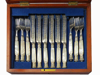 Mother of Pearl & Silver Plate Luncheon Flatware Set, France, 1870