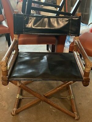 McGuire Director's chair  oak brass leather bamboo California casual x support