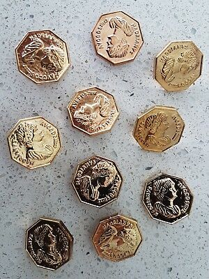 Lot of 10x Brand New 24mm Octagon Gold Coin Vintage Sewing Buttons