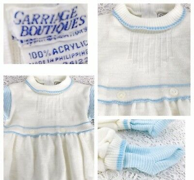 Carriage Boutiques Vintage Baby Blue Boy One Pc Knit Outfit Sweet