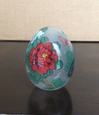 """Vintage Japan Hollow Glass Floral Flower Reverse Hand Painted Egg 2"""" Japanese"""
