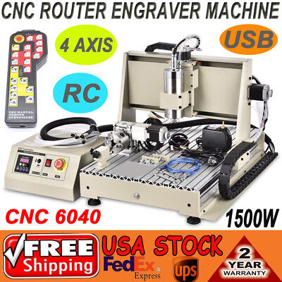 4 Axis USB CNC 6040T Router Engraver Drilling Milling Machine 1.5KW+ Controller