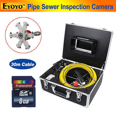 """8GB 30M Sewer Waterproof Camera Pipe Pipeline Drain Inspection 7"""" LCD DVR A02"""