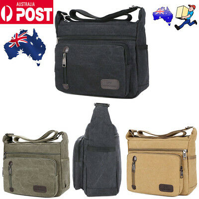 Mens Canvas Shoulder Messenger Bag Crossbody Satchel Travel Man's Bags AU