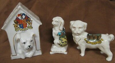 3 Crested China Dogs, Swan, Arcadian, for Sileby, Crowborough, UK Coat of Arms