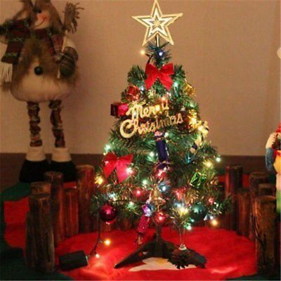 Pre Lit Tabletop Artificial Small Mini Christmas Tree With Led Ornaments Decor