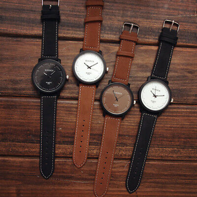 NEW Watch Fashion Round Steel Case Men women Leather Quartz analog wrist Watch