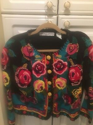 Michael Simon Unique Christmas Sweater Colorfull Black Knit New Sz8-14