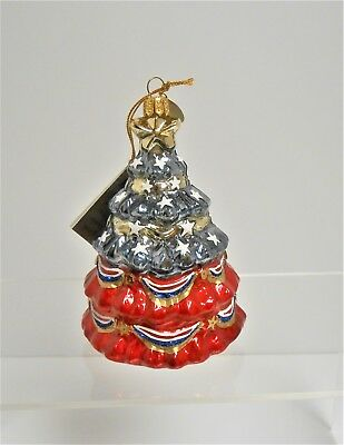 Pier 1 imports European Glass Stars & Stripes Tree Red, White & Blue Ornament