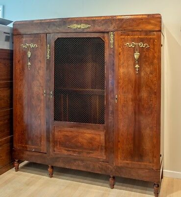 1890's Antique French Burled Wood Inlay Armoire