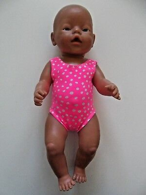 "DOLLS CLOTHES to fit 43cm (17"") BABY BORN *Pink One Piece Bathers/Swimming*"