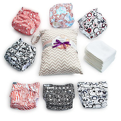 Cloth Diapers - 15 pcs Set of 7 Baby Cloth Diaper Covers, 7 Reusable Diaper 1 -