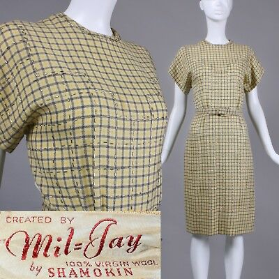 S/M Vintage 1940s Mil-Jay Wool Yellow Grey Sheath Dress Studded Belted 40s Study