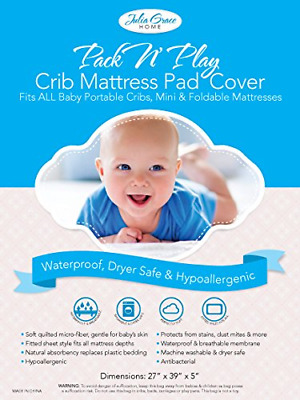 2019 Pack n Play Crib Mattress Cover by Julia Grace Home | Mini Crib Mattress |