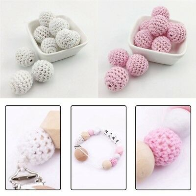 50Pcs Crochet Wood Beads Baby DIY Teething Jewelry Chew Necklace Teether Making