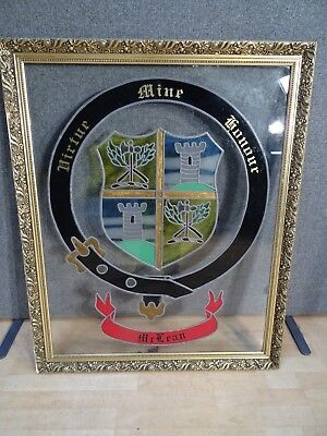 Leaded STAINED GLASS panel CREST COAT ARMS CLAN MCLEAN scottish heritage