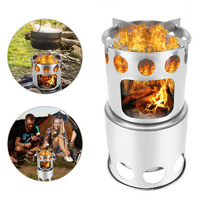Steel Outdoor Picnic Camping Stove Cooking Equipment Wood Burning Windproof