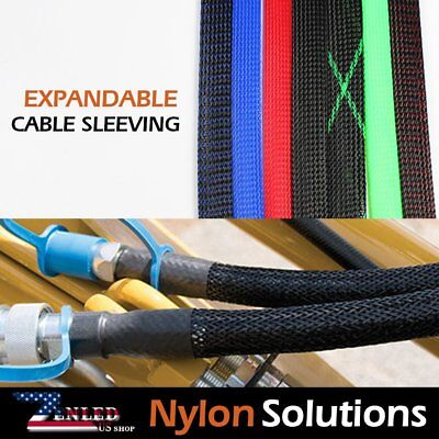 PET Expandable Braided Cable Sleeving Sleeve Wire Weave Protectors Lot (Black)