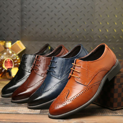 Wing Tip Men's Oxfords Brogue Leather Formal Lace up Casual